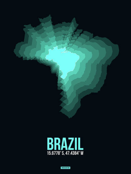 Wall Art - Digital Art - Brazil Radiant Map 2 by Naxart Studio