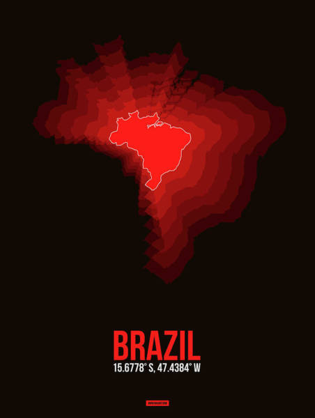 Wall Art - Digital Art - Brazil Radiant Map 3 by Naxart Studio