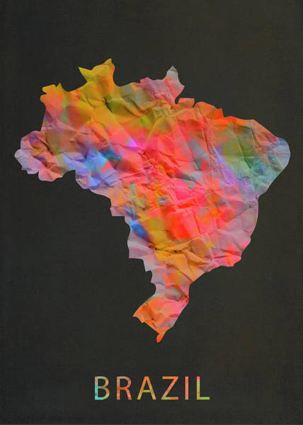 South America Mixed Media - Brazil Tie Dye Colorful Country Map by Design Turnpike