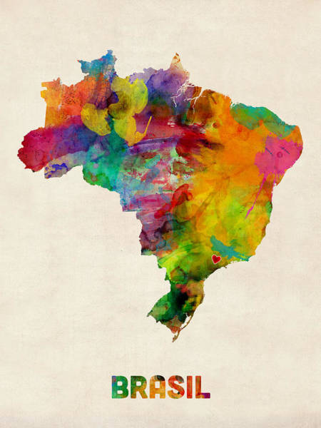 Wall Art - Digital Art - Brazil Watercolor Map Custom Heart by Michael Tompsett