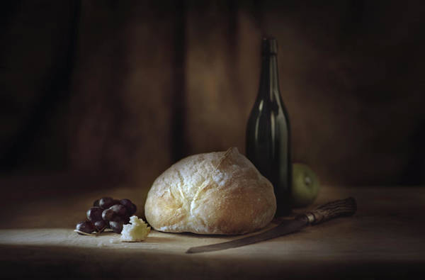 Rochester Photograph - Bread, Fruit, Wine And Cheese On Table by Chris Clor