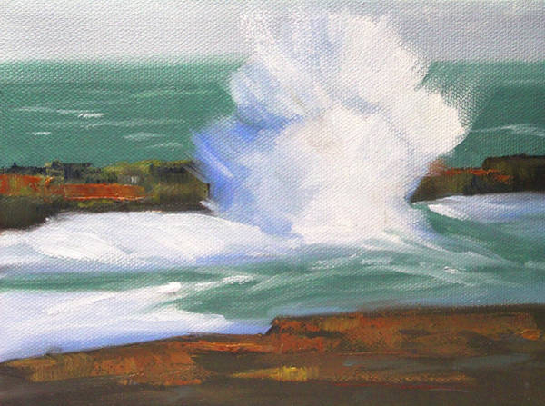 Wave Breaking Painting - Breaker  by Nancy Merkle