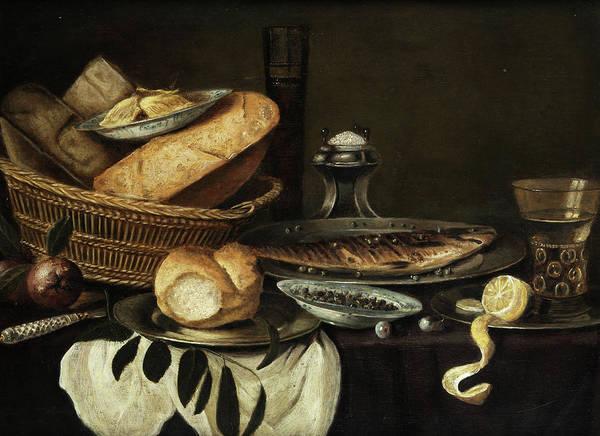Gladiolus Painting - Breakfast Still Life by Dutch master