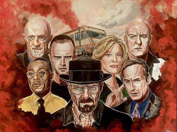 Painting - Breaking Bad Family Portrait by Joel Tesch