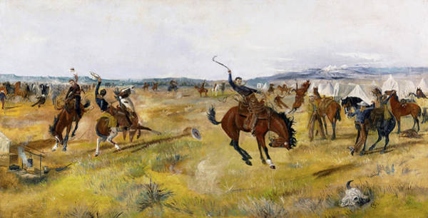 Wall Art - Painting - Breaking Camp, 1885 by Charles Marion Russell