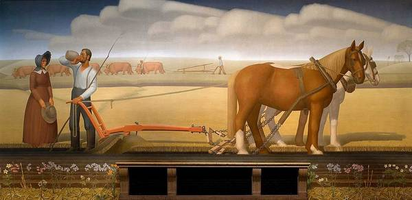 Wall Art - Painting - Breaking The Prairie Sod  By Grant Wood by Grant Wood