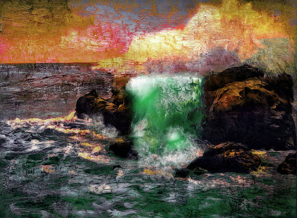 Digital Art - Breaking Waves - Ventimiglia, Riviera by Carlos Diaz