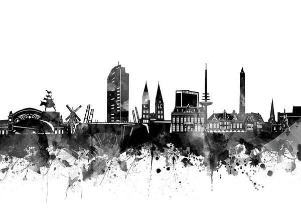 Bremen Wall Art - Digital Art - Bremen Skyline Bw by Bekim M