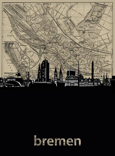 Bremen Wall Art - Digital Art - Bremen Skyline Map by Bekim M
