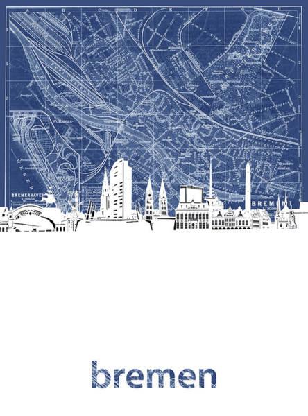 Bremen Wall Art - Digital Art - Bremen Skyline Map Blue by Bekim M