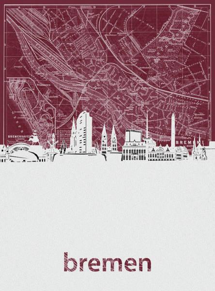Bremen Wall Art - Digital Art - Bremen Skyline Map Red by Bekim M