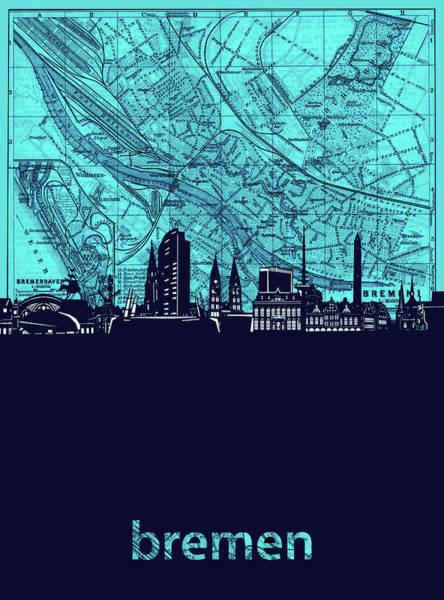 Bremen Wall Art - Digital Art - Bremen Skyline Map Turquoise by Bekim M