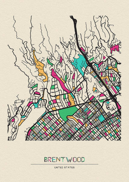 Wall Art - Drawing - Brentwood, United States City Map by Inspirowl Design