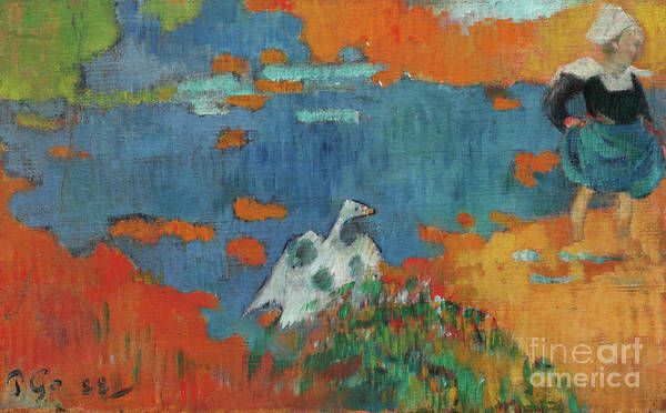 Wall Art - Painting - Breton Girl And A Goose At The Waters Edge, 1888 by Paul Gauguin