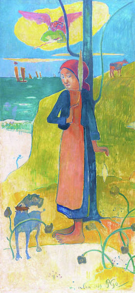 Wall Art - Painting - Breton Girl Spinning - Digital Remastered Edition by Paul Gauguin