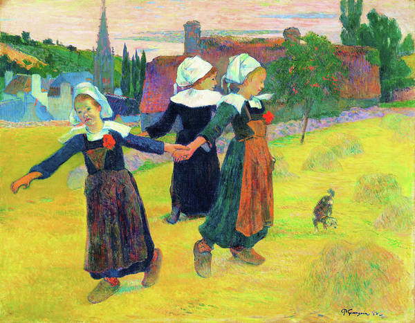 Wall Art - Painting - Breton Girls Dancing, Pont-aven - Digital Remastered Edition by Paul Gauguin