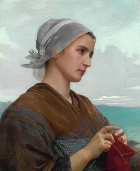 Sewer Painting - Breton Knitter by William-Adolphe Bouguereau