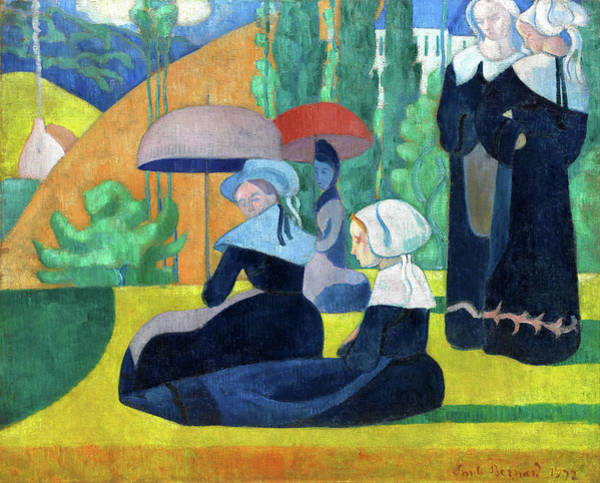 Wall Art - Painting - Breton Women With Umbrellas - Digital Remastered Edition by Emile Bernard