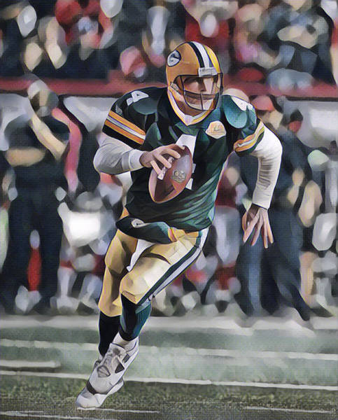 Wall Art - Mixed Media - Brett Favre Green Bay Packers Legend Abstract Art 1 by Joe Hamilton