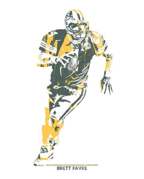 Wall Art - Mixed Media - Brett Favre Green Bay Packers Pixel Art 1 by Joe Hamilton