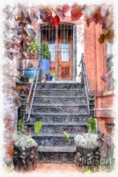Wall Art - Digital Art - Brick Townhouse Walkup Watercolor by Edward Fielding