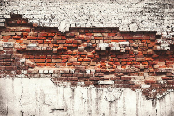 Color Image Photograph - Brick Wall Falling Apart by Ty Alexander Photography