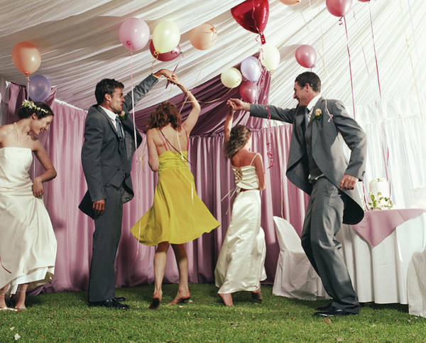 Wedding Reception Photograph - Bridal Party Dancing In Marquee by Devon Strong