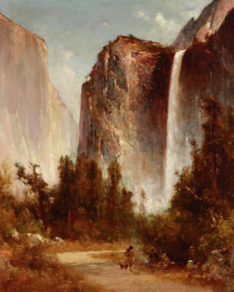 California Hills Painting - Bridalveil Falls In Yosemite by Thomas Hill