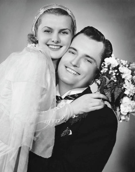 Heterosexual Couple Photograph - Bride And Groom, Portrait by George Marks