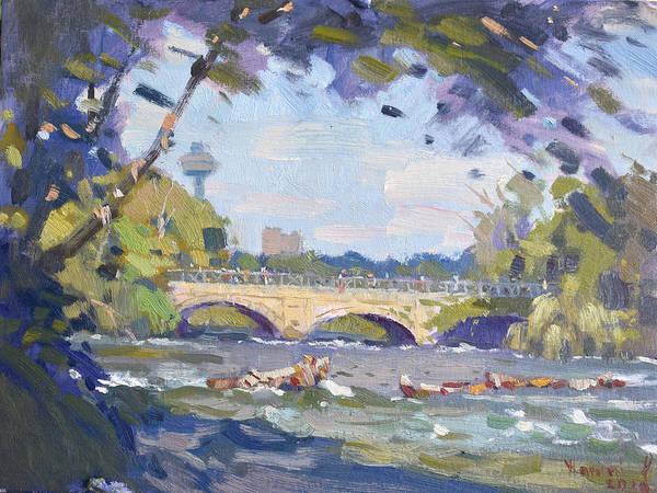 Wall Art - Painting - Bridge At Niagata River  by Ylli Haruni