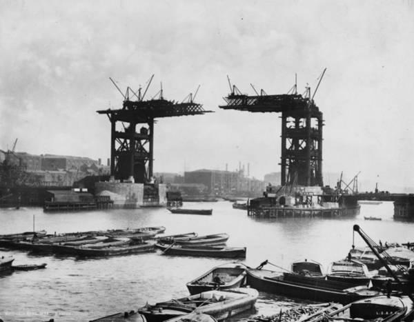 Narrow Boat Wall Art - Photograph - Bridge Construction by London Stereoscopic Company