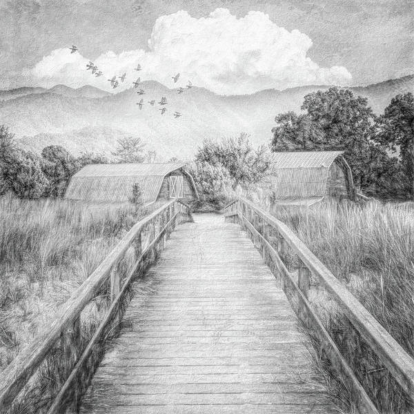 Wall Art - Photograph - Bridge Into The Country In Black And White by Debra and Dave Vanderlaan