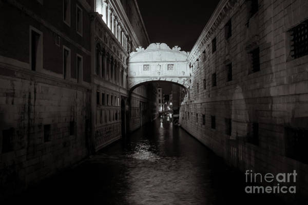 Photograph - Bridge Of Sighs In Venice . Monochrome by Marina Usmanskaya