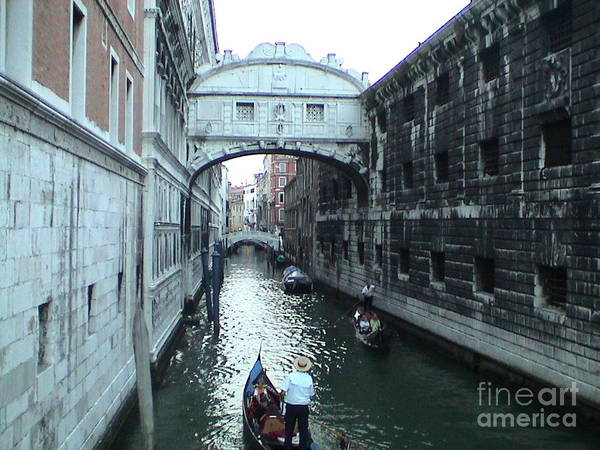 Photograph - Bridge Of Sighs Venice Italy Canal Gondolas Unique Panoramic View by John Shiron