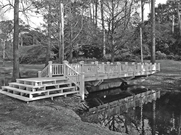 Wall Art - Photograph - Bridge Over Calm Water - Black And White by Marian Bell