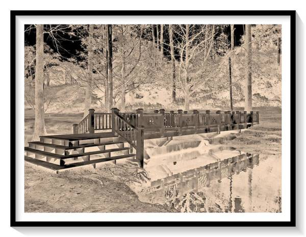 Wall Art - Digital Art - Bridge Over Calm Water - Otherworldly Sepia Tones In Frame by Marian Bell