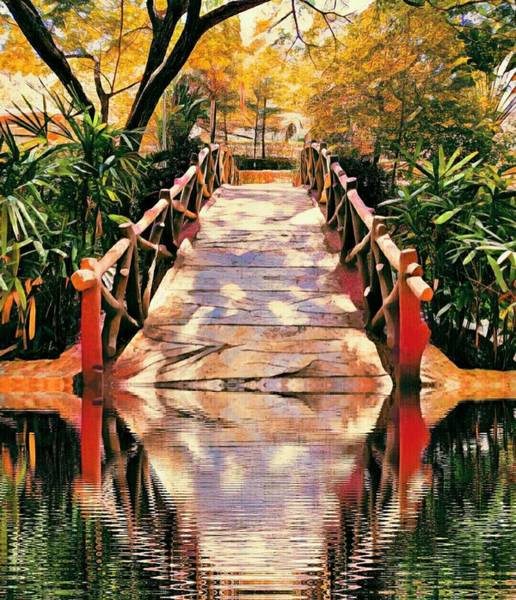 Mixed Media - Bridge Through Water by AE collections