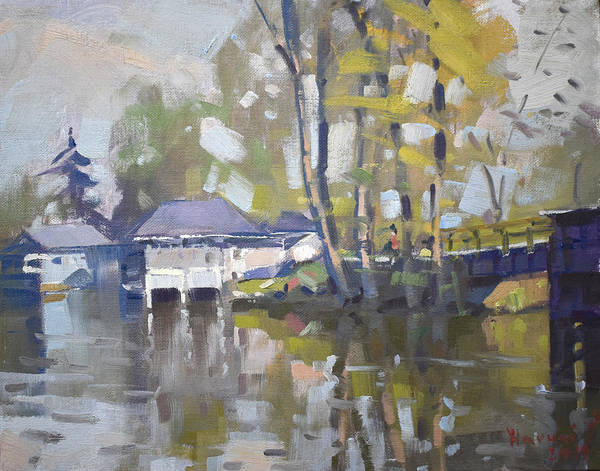 Wall Art - Painting - Bridge To Boathouses  by Ylli Haruni
