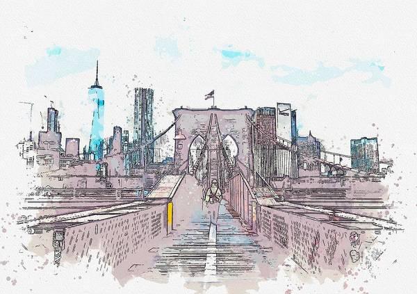 Manhattan Skyline Painting - Bridge To Manhattan, Usa C2019, Watercolor By Adam Asar by Celestial Images