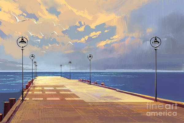 Wall Art - Digital Art - Bridge To The Sea Against Beautiful by Tithi Luadthong