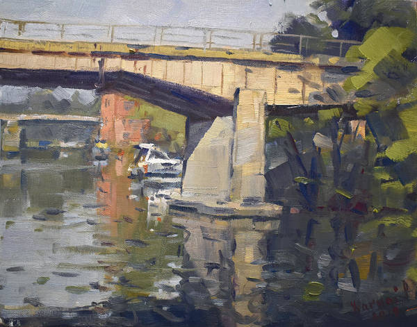 Tonawanda Wall Art - Painting - Bridges At North Tonawanda  by Ylli Haruni