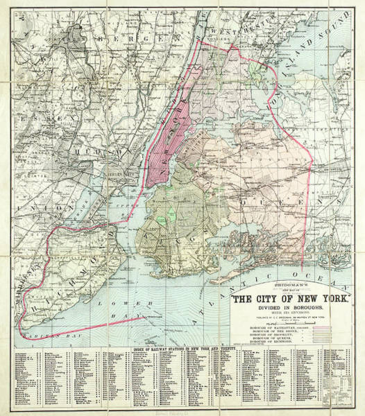 The Bronx Photograph - Bridgmans New Map Of The City Of New by The New York Historical Society