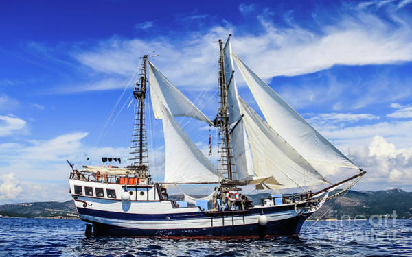 Photograph - Brigantine On The Ionian Sea by Lyl Dil Creations