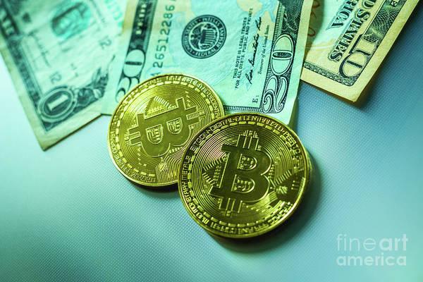 Photograph - Bright Bitcoin Coins Next To Dollar Bills. by Joaquin Corbalan