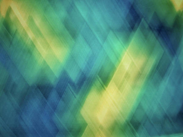 Photograph - Bright Blue, Turquoise, Green And Yellow Blurred Diagonal And Diamond Shapes by Teri Virbickis
