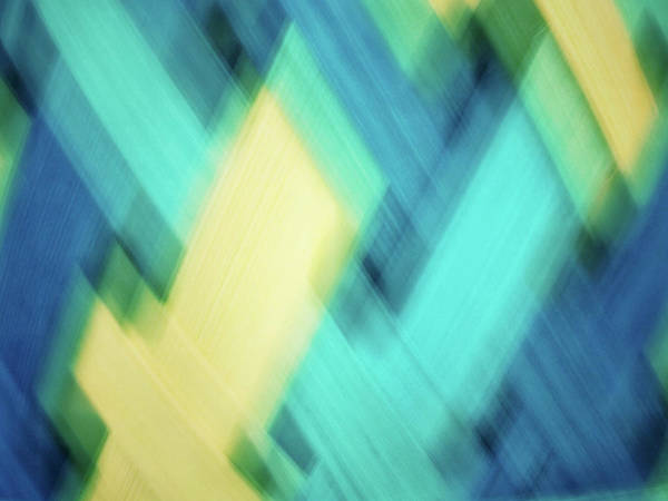 Photograph - Bright Blue, Turquoise, Green And Yellow Blurred Diamond Shapes Abstract  by Teri Virbickis
