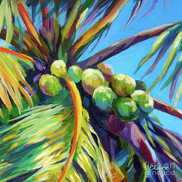 Wall Art - Painting - Bright Coconuts Square by John Clark