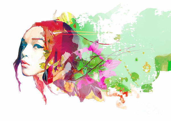 Wall Art - Digital Art - Bright Color Composition With Female by Alisa Franz