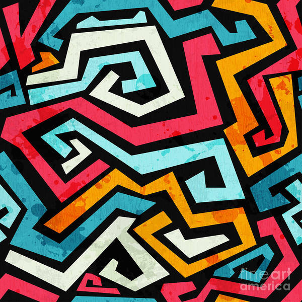 Wall Art - Digital Art - Bright Graffiti Seamless Pattern With by Gudinny