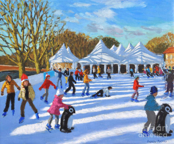 Wall Art - Painting - Bright Morning, Hampton Court Palace Ice Rink, London by Andrew Macara